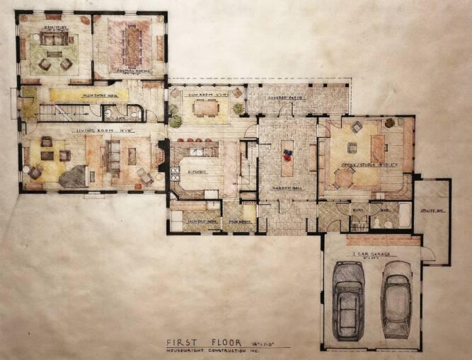 Pin 3d house plan rendering on pinterest for Rendered floor plan